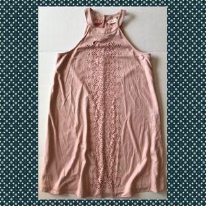 Pink Suede Laser Cutout Floral Halter Dress